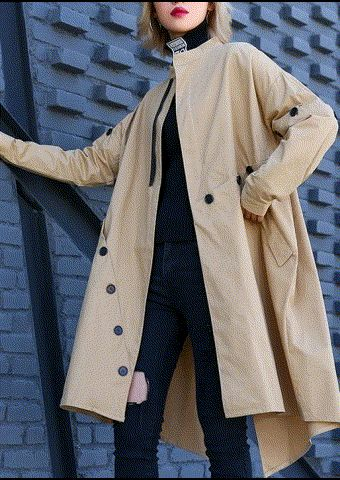 Elegant khaki Coat Women plus size medium length stand collar asymmetric coat 1