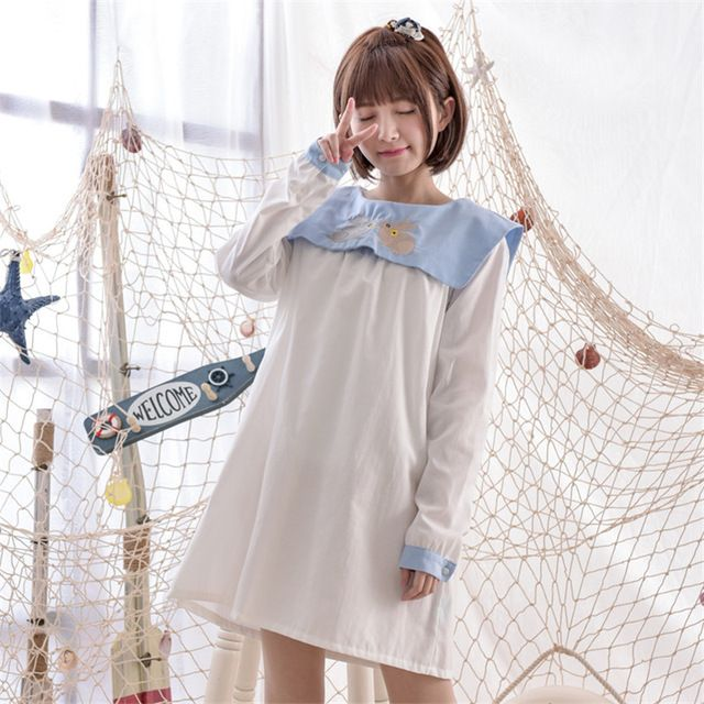 Мори девушка 2016 весной новые женщины широкий платья матрос воротник милый кролик вышивка девушка каваи платье свободного покроя студенты платье-линии полный