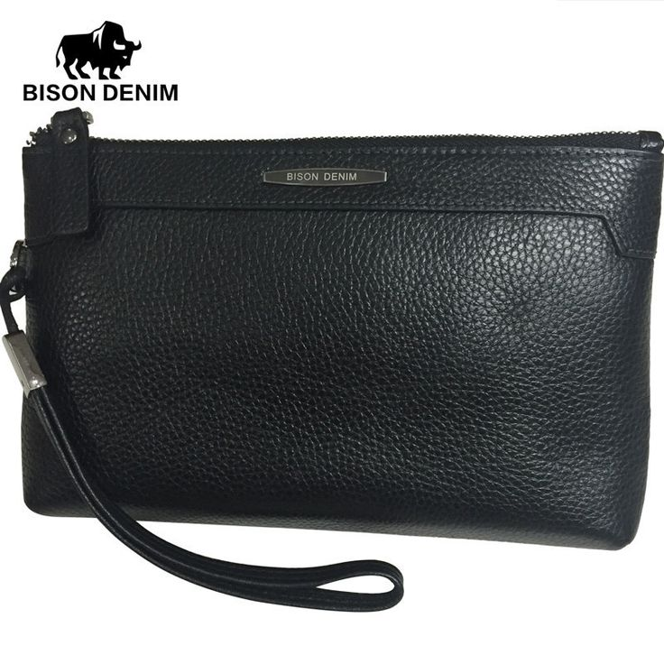 BISON DENIM 2016 100% Top Cowhide male Clutch Wallets Black genuine leather silm envelope bag for men gift passport Card Holder