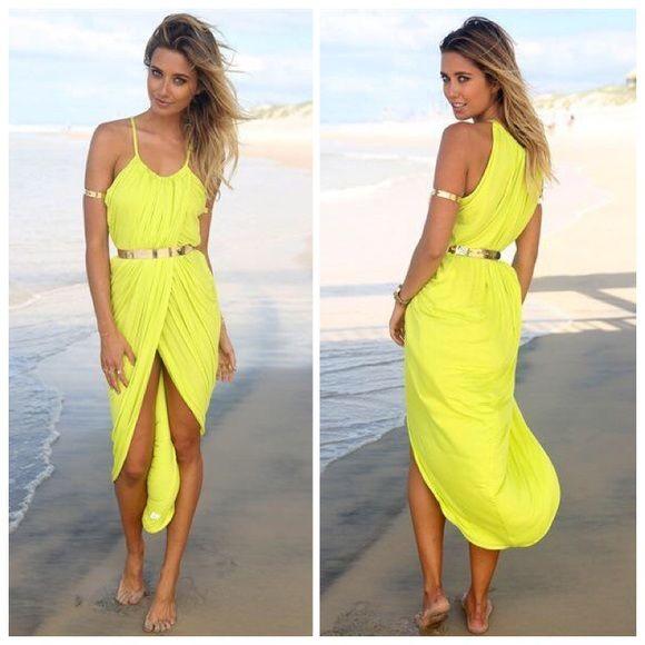 Maxi Split Summer Dress Pleated Ankle Length Maxi Dresses Summer Beach Dress. Lime green color. Dresses