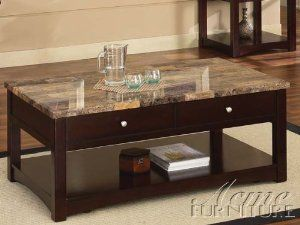 Amazon Com Acme 80018 Jas Faux Marble Lift Top Coffee