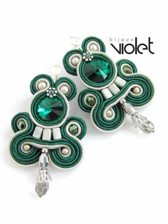 Emerald Soutache Earrings by Violetbijoux on Etsy, $59.00