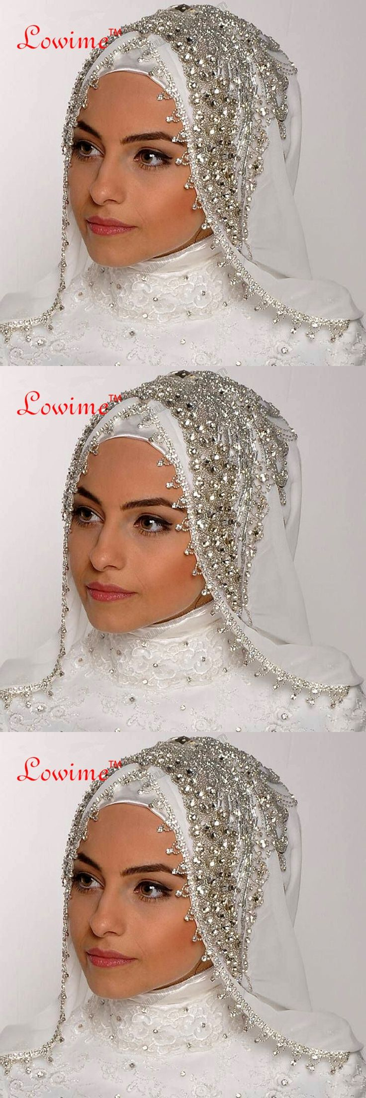 Luxury Sewing Beads Crystal Veils Custom Made Color Length Wide Muslim Veils Hijab One Layer Handy Made Wedding Veil LW-107