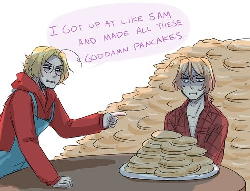 PANCAKES!!! Canada and 2P!Canada. When Canada cusses, you know it's serious.