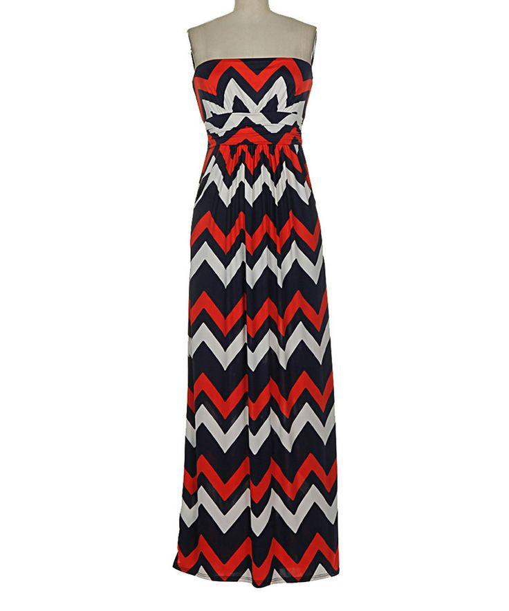 Red & Black Chevron Strapless Maxi Dress