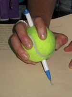 What a great adaptive idea to help kids hold a pen, pencil or even a paint brush. Perfect for kids with limited abilities.: Help Kids, Adaptive Ideas, Occupational Therapy, For Kids, Kids Hold, Fine Motors Skills, Paintings Brushes, Tennis Ball, Pens