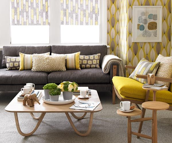 Combination Of Grey And Mustard Living Room