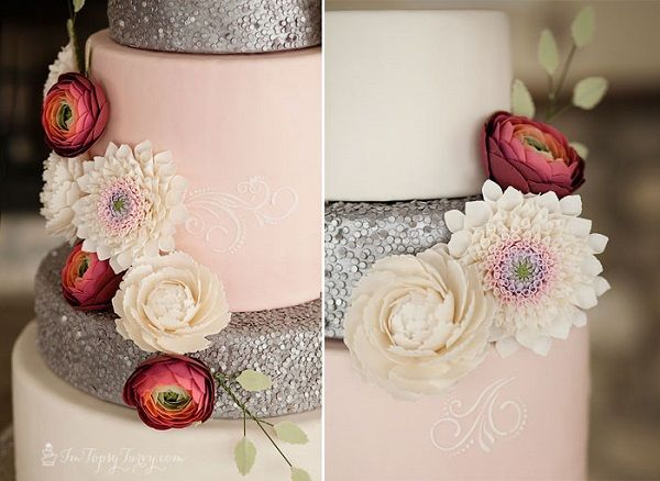 Edible sequins tutorial and wedding cake from the Ashlee Marie blog (formerly I'm Topsy Turvy), Chelsea Peterson Photography, as featured on Cake Geek Magazine.