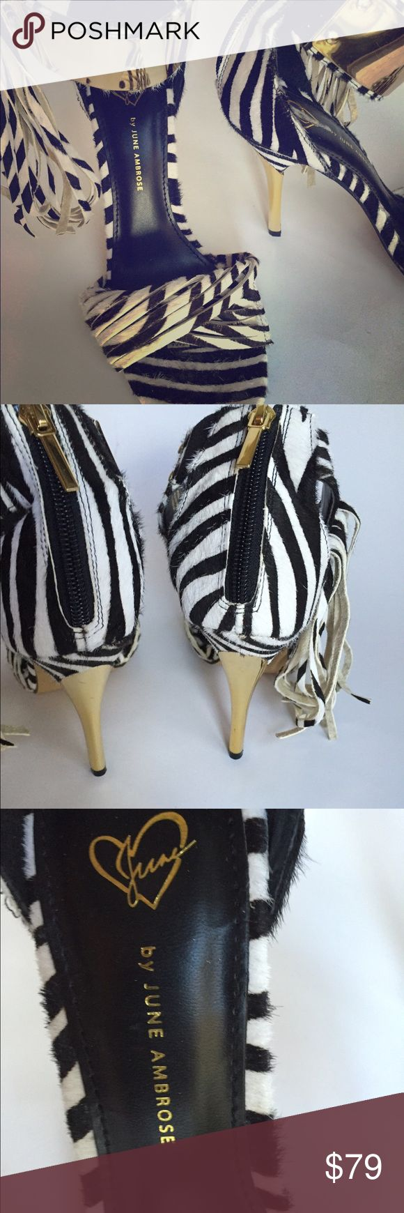 June Ambrose zebra heels Omg!! These statement heals are super standouts. You will be noticed!! Worn twice. June Ambrose Shoes Heels