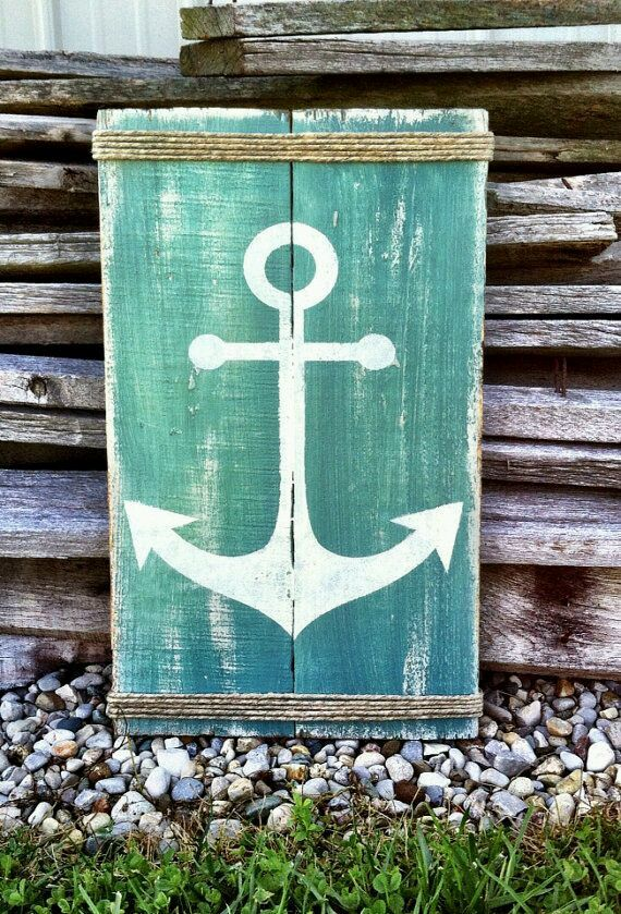 DIY - Painted Wood Ocean/Nautical Sign Decor - (Image Only)