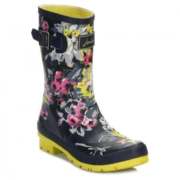 Womens Mid Calf French Navy Floral Wellington Boots ($49) ❤ liked on Polyvore featuring shoes, boots, navy blue boots, floral boots, mid-calf boots, wellington boots and flower print boots