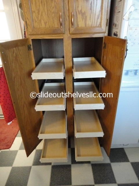 17 best images about pull out pantry shelves on pinterest for Sliding pantry shelves for rv