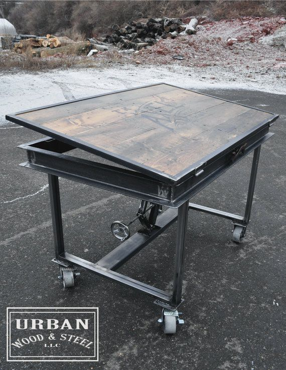 Industrial Adjustable Drafting Table by urbanwoodandsteel