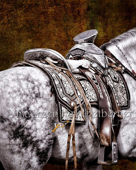 Silver on Silver - Giclee print - Fine Art Image of a dapple grey horse with the silver saddle