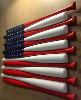 Very cool!  Baseball bats split in half and painted. No tutorial.