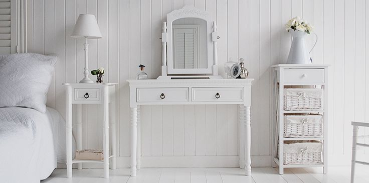 New England white bedroom furniture. Shown here with the dressing table is the bedside and storage