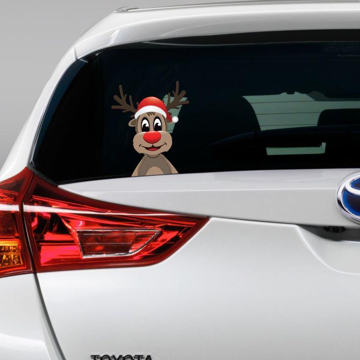 Reindeer peeking full colour christmas vinyl decal bedroom wall window sticker car gift present xmas large
