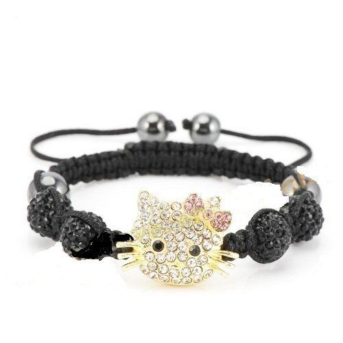 Hello Kitty Inspired Shamballa Bracelet in Black AMR Collection. $29.75. Hello Kitty Inspired Shamballa Bracelet in Black. The central Hello Kitty inspired piece is decorated with crystals.. The balls measure 10 mm each.. This Shamballa bracelet showcases 4 pave black crystal balls and 4 Magnetite Beads.. The bracelet measures about 7 inches.