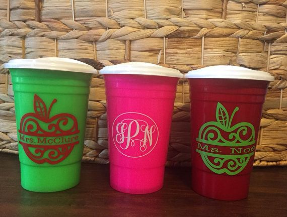 16oz Solo Cups with lid Monogrammed Solo Cups Solo by OpenedWings