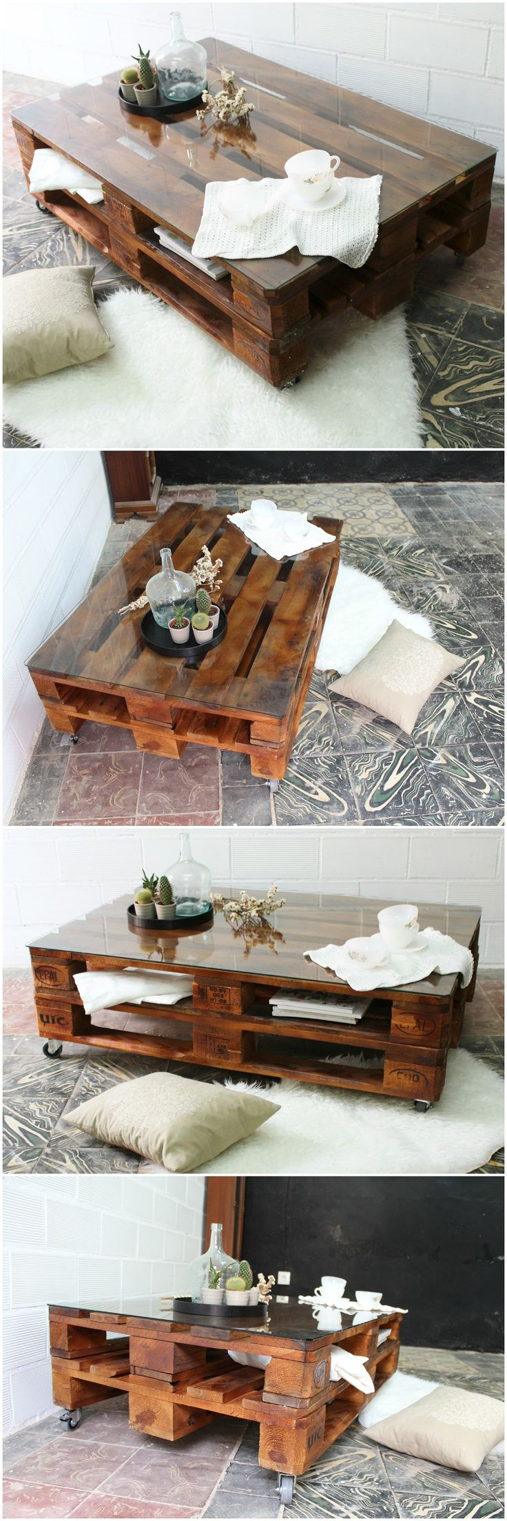 Best 25 pallet tables ideas on pinterest pallet table for Mesa vidrio