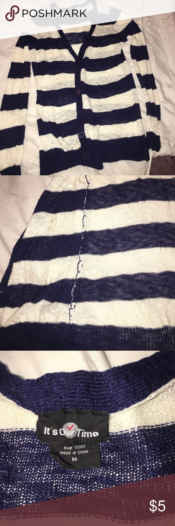 Blue and white cardigan Lightly used but has a stain inside cardigan its our time Sweaters Cardigans