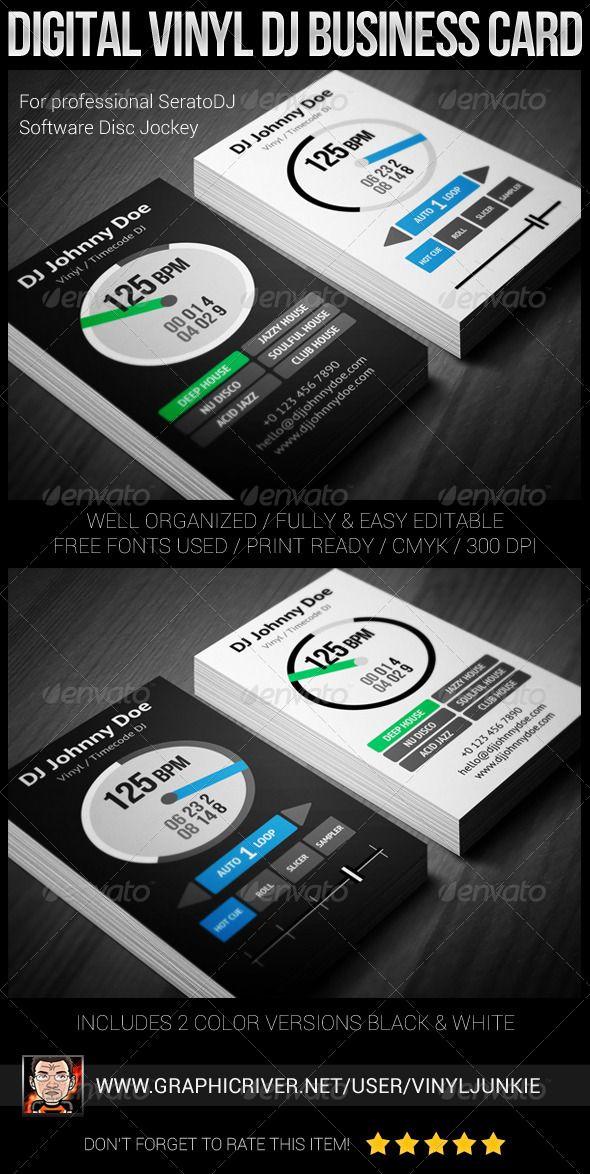 Digital vinyl dj business card vinyls adobe photoshop for Dj business card templates free