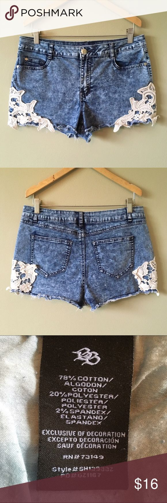 Cut-Off High-Waist Jean Shorts w/ White Lace Sides (Women's size 12/Juniors 13) Like new! Boho Short Acid-Wash Soft Stretch Cut-Off High-Waist Jean Shorts with Cream-White Lace Sides. Sexy and cute. I like the feel of the material. Only worn a couple times. Boom Boom Jeans Shorts Jean Shorts