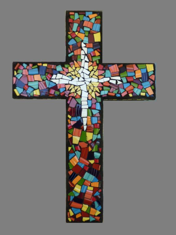 Mosaic Tile Wall Cross by KateSutcliffeMosaics, $110.00... Since discovering Hobby Lobby, I think I might try and make this on my own!