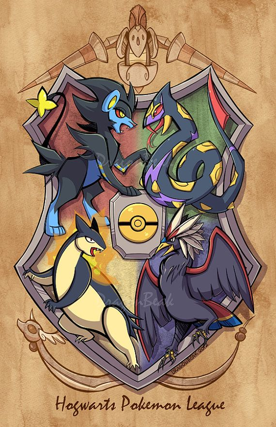Hogwarts Pokemon League Print on etsy--This is a match up of two of my favorite fandoms: Pokemon and Harry Potter. I think it deserves to be framed now. :)