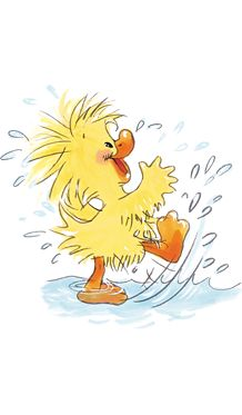 Witzy playing in the rain. Little Suzy's Zoo. #duckling