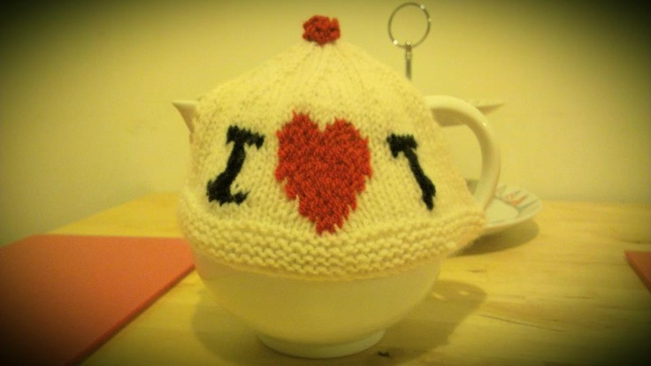 I Heart Tea -  Tea Cosy. Home made knitted tea cosy. Visit http://www.facebook.com/KittyAndTiz to find out how to buy