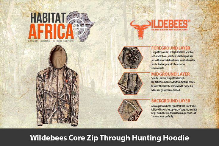 The Wildebees Core Zip Through Hunting Hoodie has a Tricot lined hood with…
