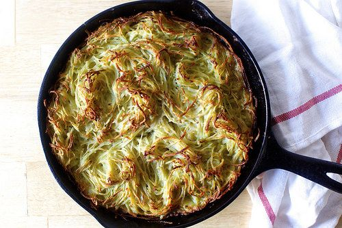 potato kugel by smitten kitchen - we made with sweet potatoes. It took longer to bake but other than that the same. Delicious!