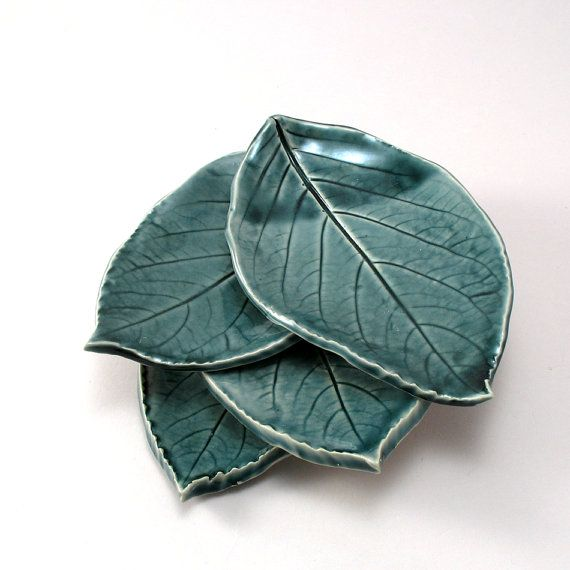 Little Leaf Plates set of 4 by cherylwolff on Etsy, $40.00