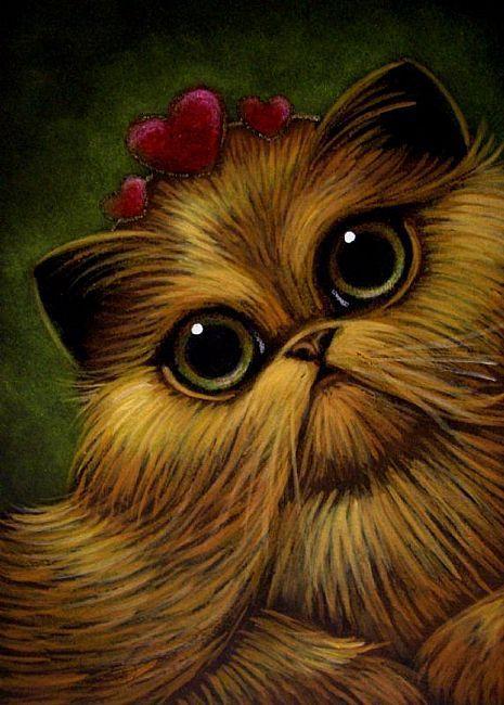 Art: RED GOLDEN PERSIAN CAT VALENTINE'S QUEEN by Artist Cyra R. Cancel