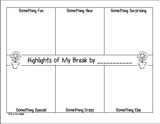 Students draw or write on this organizer to share events of their spring break. #freebie
