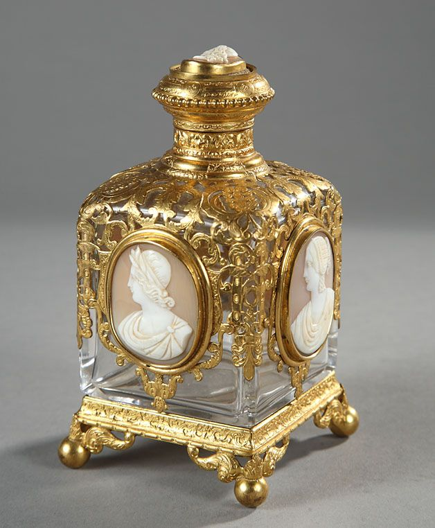 ♔ Bottles & Boxes ♔ perfume, snuff & decorative containers - French cameo perfume bottle, c 1863