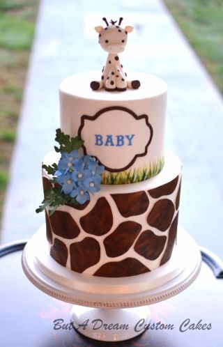 Giraffe themed baby shower cake.
