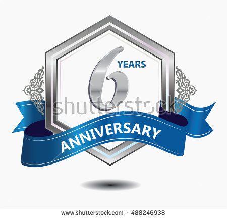 6 years anniversary hexagonal style logo with silver combination red ribbon. anniversary logo for celebration, birthday, wedding, party. anniversary logo