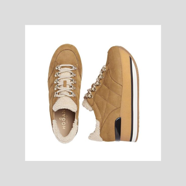 On trend and season evoking tan colored #HOGAN #AW1718 Maxi #H222 #sneakers