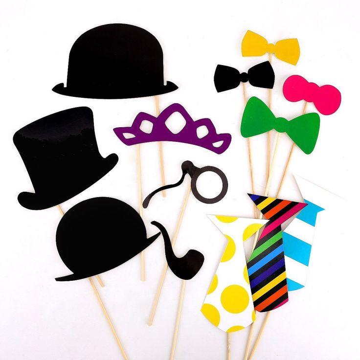 58pcs colorful props on a stick mustache photo