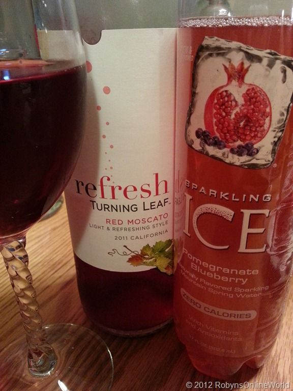 Moscato Cocktail - Mix 1 part Sparkling Ice Pomegranate Blueberry Sparkling Water with 3 parts Refresh Red Moscato Wine