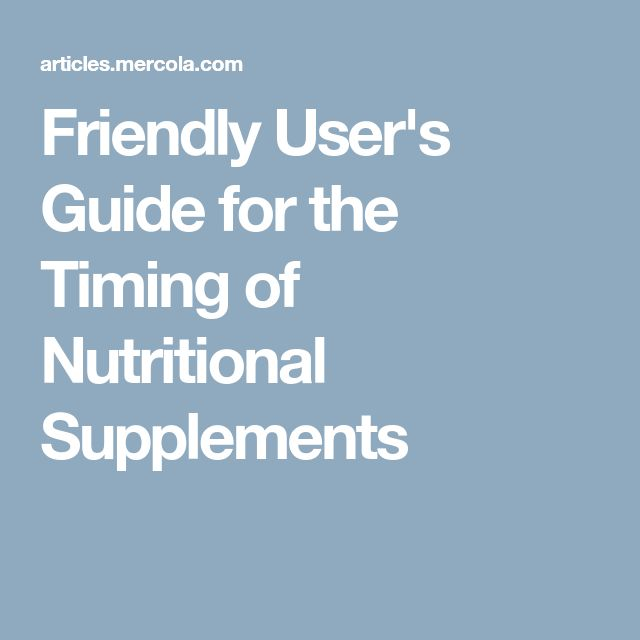 Friendly User's Guide for the Timing of Nutritional Supplements