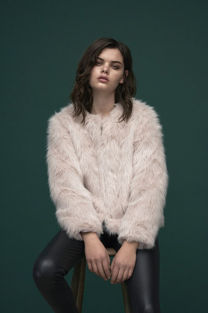 Super soft Faux fur jacket in soft pink with shaggy '70s feel.  Slim fit leather pants that will feel like a second skin.  Jacket : Nandi / North Leather Pants : Boss Leather / Bonnie