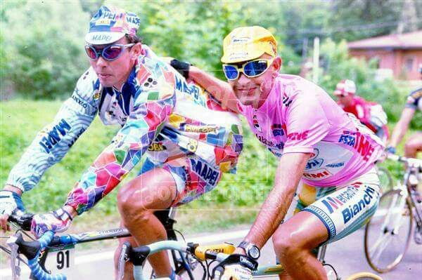 Pavel Tonkov with Marco Pantani  stage 22 of the 1998 Giro d'Italia ...