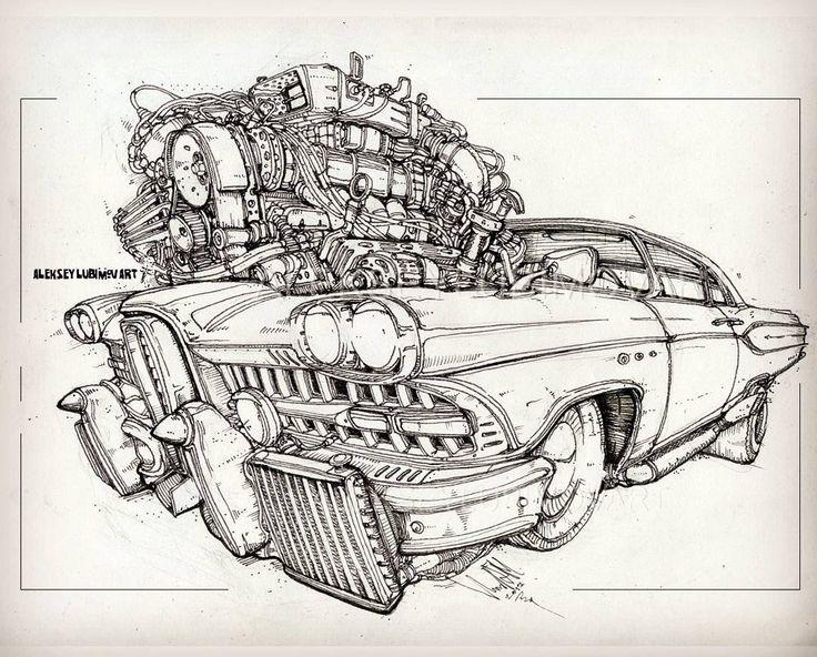 Powerful   Author Aleksey Lubimov #алексейлюбимовбиомеханика #алексейлюбимов #стимпанк #дизельпанк #биомеханика #marchofrobots #steampunk #dieselpunk #alekseylubimov_art #biomechanical #lineart #hotrod