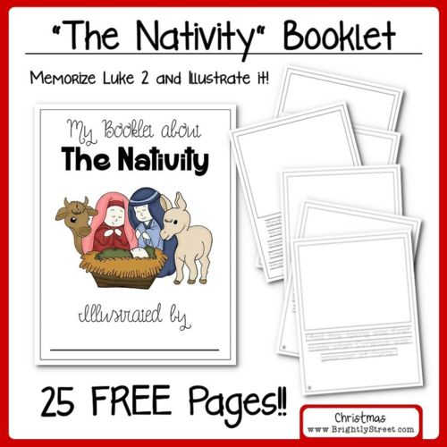 "Advent Calendar: A Christ-Centered Christmas - 25 Days until Christmas Countdown - Memorize Luke 2 ""The Nativity"" story during December free booklet.  Have your child illustrate the scriptures!  www.BrightlyStreet.com"