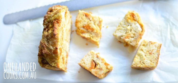 ROAST PUMPKIN, FETA & PARMESAN LOAF: Other than the extra time it takes to roast the pumpkin, this is a very quick and easy lunch or snack option for the week ahead. #onehandedcooks