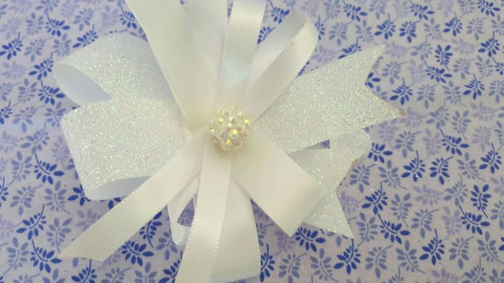 Pair of White Sparkly Hair Bows, Clips, Barrettes, Girls Hair Bows, Unique Hair Bows, Glitter Hair Bows, Hairbows, Church Hair Bows by LudicBows on Etsy