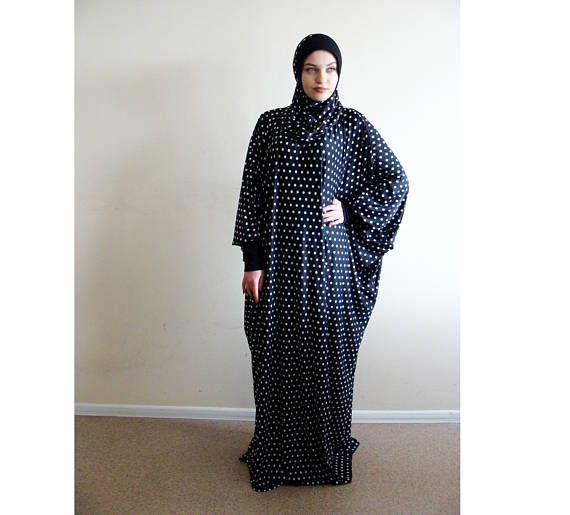 Black polka dot Maxi Dress Plus Size,Prayer dress, Farasha Caftan, Boho dress,Muslim dress, abaya Dress,Modern hijab, Burqa